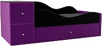 Кровать-тахта Mebelico Дельта правый / 101726 (микровельвет, черный/фиолетовый) -