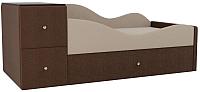 Кровать-тахта Mebelico Дельта правый / 101727 (рогожка, бежевый/коричневый) -