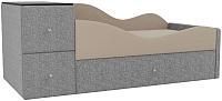 Кровать-тахта Mebelico Дельта правый / 101728 (рогожка, бежевый/серый) -