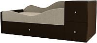 Кровать-тахта Mebelico Дельта левый / 101722 (микровельвет, бежевый/коричневый) -