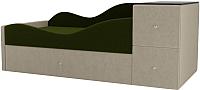 Кровать-тахта Mebelico Дельта левый / 101723 (микровельвет, зеленый/бежевый) -
