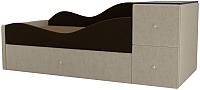 Кровать-тахта Mebelico Дельта левый / 101724 (микровельвет коричневый/бежевый) -