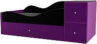 Кровать-тахта Mebelico Дельта левый / 101726 (микровельвет черный/фиолетовый) -