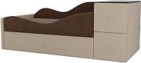 Кровать-тахта Mebelico Дельта левый / 101729 (рогожка, коричневый/бежевый) -