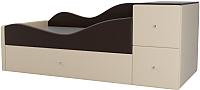 Кровать-тахта Mebelico Дельта левый / 101733 (экокожа, коричневый/бежевый) -
