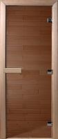 Стеклянная дверь для бани/сауны Doorwood Теплый день 180x70 (коробка листва) -