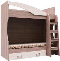 Двухъярусная кровать SV-мебель Город Ж 80x186 с ящиком (ясень шимо темный/ясень шимо светлый) -