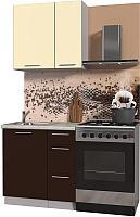 Готовая кухня Интерлиния Мила Пластик 0.8 А (шоколад глянец/ваниль глянец/опал) -