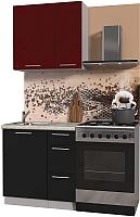 Готовая кухня Интерлиния Мила Пластик 0.8 А (черный глянец/бордо глянец/опал светлый) -