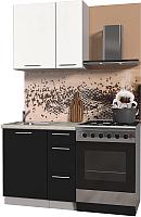 Готовая кухня Интерлиния Мила Пластик 0.8 А (черный глянец/белый глянец/опал светлый) -