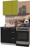 Готовая кухня Интерлиния Мила Пластик 0.8 А (черный глянец/оливковый глянец/кастилло темный) -
