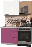 Готовая кухня Интерлиния Мила Пластик 0.9 А (гортензия глянец/белый глянец/опал ) -