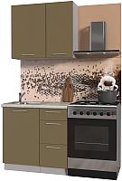 Готовая кухня Интерлиния Мила Пластик 0.9 А (капучино глянец/опал светлый) -