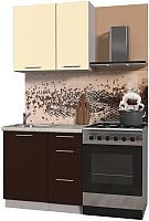 Готовая кухня Интерлиния Мила Пластик 0.9 А (шоколад глянец/ваниль глянец/опал светлый) -