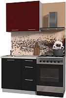Готовая кухня Интерлиния Мила Пластик 0.9 А (черный глянец/бордо глянец/опал светлый) -