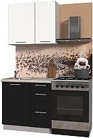 Готовая кухня Интерлиния Мила Пластик 0.9 А (черный глянец/белый глянец/опал светлый) -