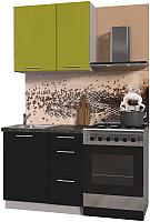 Готовая кухня Интерлиния Мила Пластик 0.9 А (черный глянец/оливковый глянец/кастилло темный) -