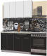 Готовая кухня Интерлиния Мила Пластик 1.3 А (черный глянец/белый глянец/опал светлый) -