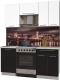 Готовая кухня Интерлиния Мила Пластик 1.7 А (черный глянец/белый глянец/опал светлый) -