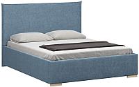 Двуспальная кровать Woodcraft Ницца 160 вариант 1 (искусственная шерсть/васильковый) -