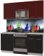 Готовая кухня Интерлиния Мила Пластик 1.8 А (черный глянец/бордо глянец/опал светлый) -
