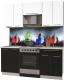 Готовая кухня Интерлиния Мила Пластик 1.8 А (черный глянец/белый глянец/опал светлый) -