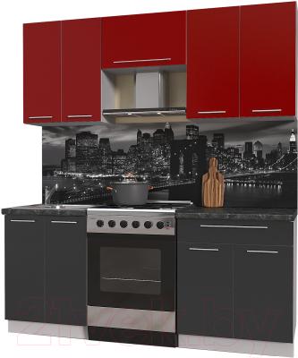 Готовая кухня Интерлиния Мила Пластик 1.9 А (антрацит глянец/красный глянец/кастилло темный)
