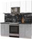 Готовая кухня Интерлиния Мила Пластик 1.9 А (мрамор/белый глянец/кастилло темный) -