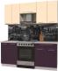 Готовая кухня Интерлиния Мила Пластик 1.9 А (слива глянец/ваниль глянец/травертин) -