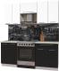 Готовая кухня Интерлиния Мила Пластик 1.9 А (черный глянец/белый глянец/опал светлый) -