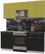 Готовая кухня Интерлиния Мила Пластик 1.9 А (черный глянец/оливковый глянец/кастилло темный) -