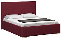 Полуторная кровать Woodcraft Ницца 140 вариант 8 (малиновый велюр) -