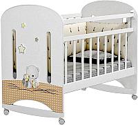 Детская кроватка Альма-Няня Amici Nuvola (колесо-качалка, белый) -