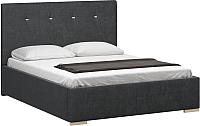 Двуспальная кровать Woodcraft Валенсия 160 вариант 11 (искусственная шерсть/грифельно-серый) -