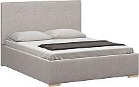 Полуторная кровать Woodcraft Валенсия 140 вариант 4 (искусственная шерсть/топленое молоко) -