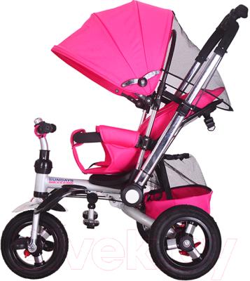 Детский велосипед с ручкой Sundays SJ-10 (розовый)