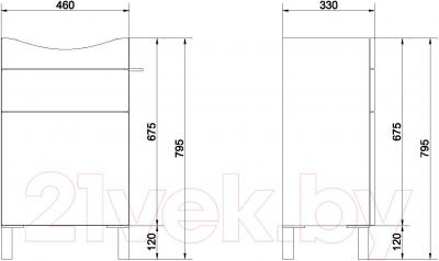 Тумба под умывальник Cersanit Smart S568-016 / B-SU-SMA-CO50/Wh (белый) - схема
