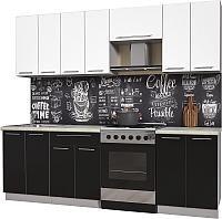 Готовая кухня Интерлиния Мила Пластик 2.4 А (черный глянец/белый глянец/опал светлый) -
