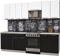 Готовая кухня Интерлиния Мила Пластик 2.5 А (черный глянец/белый глянец/опал светлый) -