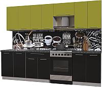 Готовая кухня Интерлиния Мила Пластик 2.8 А (черный глянец/оливковый глянец/кастилло темный) -