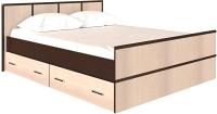 Полуторная кровать Rikko Сакура 140x200 (венге/дуб атланта) -