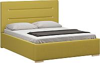 Полуторная кровать Woodcraft Рона 140 вариант 5 (горчичный велюр) -