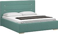 Полуторная кровать Woodcraft Рона 140 вариант 9 (лазурная рогожка) -