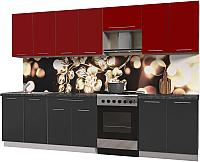 Готовая кухня Интерлиния Мила Пластик 3.0 А (антрацит глянец/красный глянец/кастилло темный) -