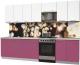 Готовая кухня Интерлиния Мила Пластик 3.0 А (гортензия глянец/белый глянец/опал светлый) -