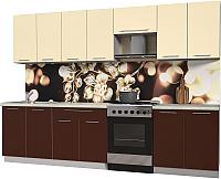 Готовая кухня Интерлиния Мила Пластик 3.0 А (шоколад глянец/ваниль глянец/опал светлый) -