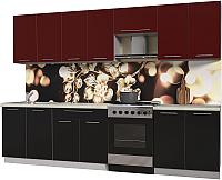 Готовая кухня Интерлиния Мила Пластик 3.0 А (черный глянец/бордо глянец/опал светлый) -