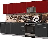 Готовая кухня Интерлиния Мила Пластик 3.2 А (антрацит глянец/красный глянец/кастилло темный) -
