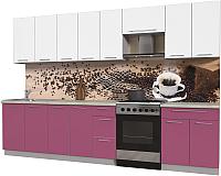 Готовая кухня Интерлиния Мила Пластик 3.2 А (гортензия глянец/белый глянец/опал светлый) -