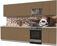 Готовая кухня Интерлиния Мила Пластик 3.2 А (капучино глянец/опал светлый) -
